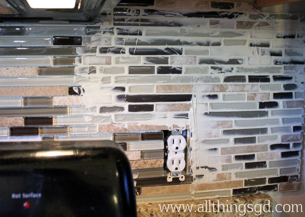 Grouting Kitchen Backsplash With My Tiles Set It Was Time To Start Grouting You Really Only .