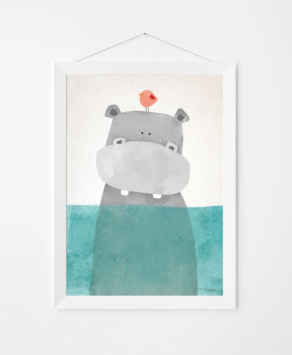 Poster print wall art. Illustration art with cute hippo. Kids and ...