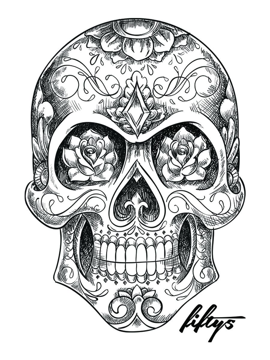 This is a graphic of Crafty Black And White Sugar Skull Drawing