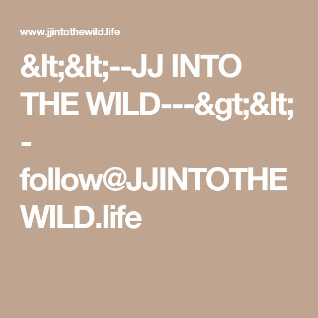 <<--JJ INTO THE WILD--->< - follow@JJINTOTHEWILD.life
