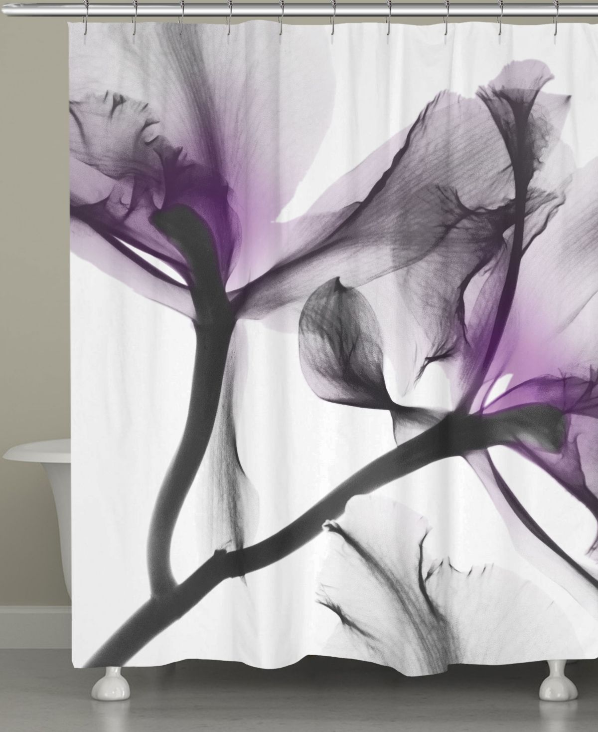 Lavendar Flwr Shower Curtain Purp Flwr Flower Shower Curtain