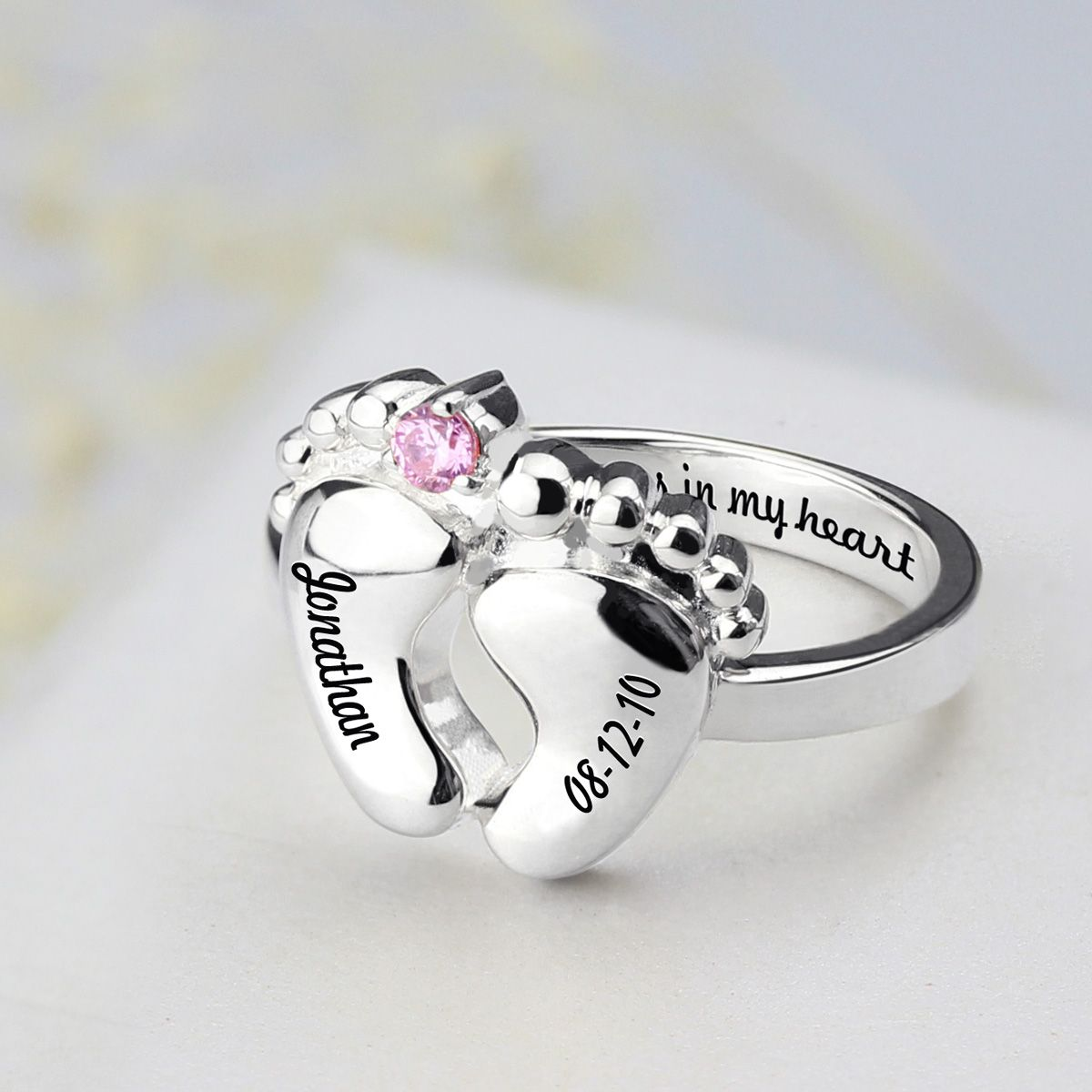 keepsakes baby footprint stacking loss personalized name img and rings necklaces memorial