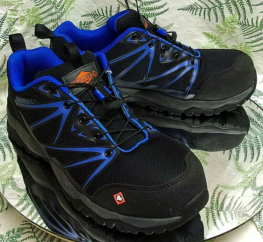 03019011 MERRELL WORK BLACK BLUE LACED SAFETY TOE SLIP RESISTANT ...