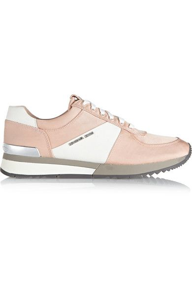 957c1450 MICHAEL Michael Kors Allie satin and textured-leather sneakers ...