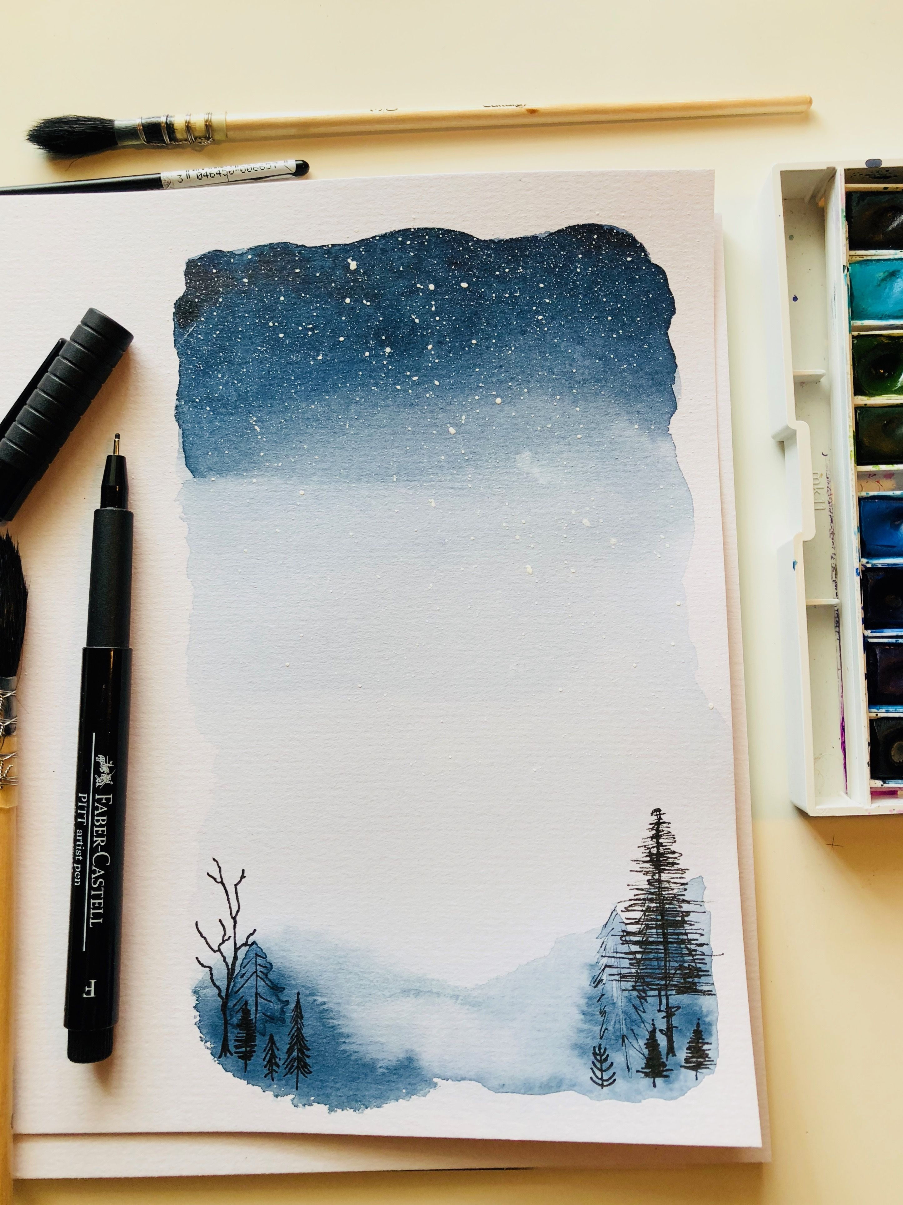 Aquarelle Starry Night Sky Winter Landscape Trees Snow Galaxy Painting Winter Drawings Winter Landscape Painting