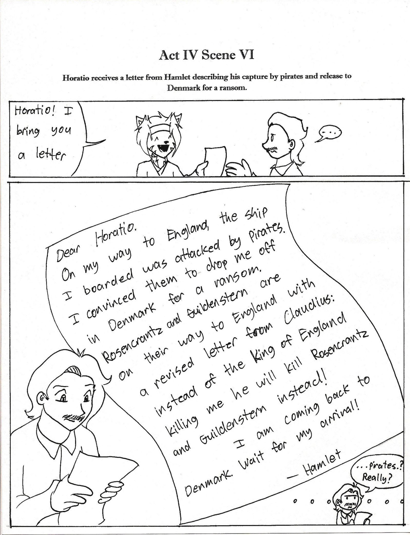 Act 4 Scene 6 Horatio is given a letter written by Hamlet