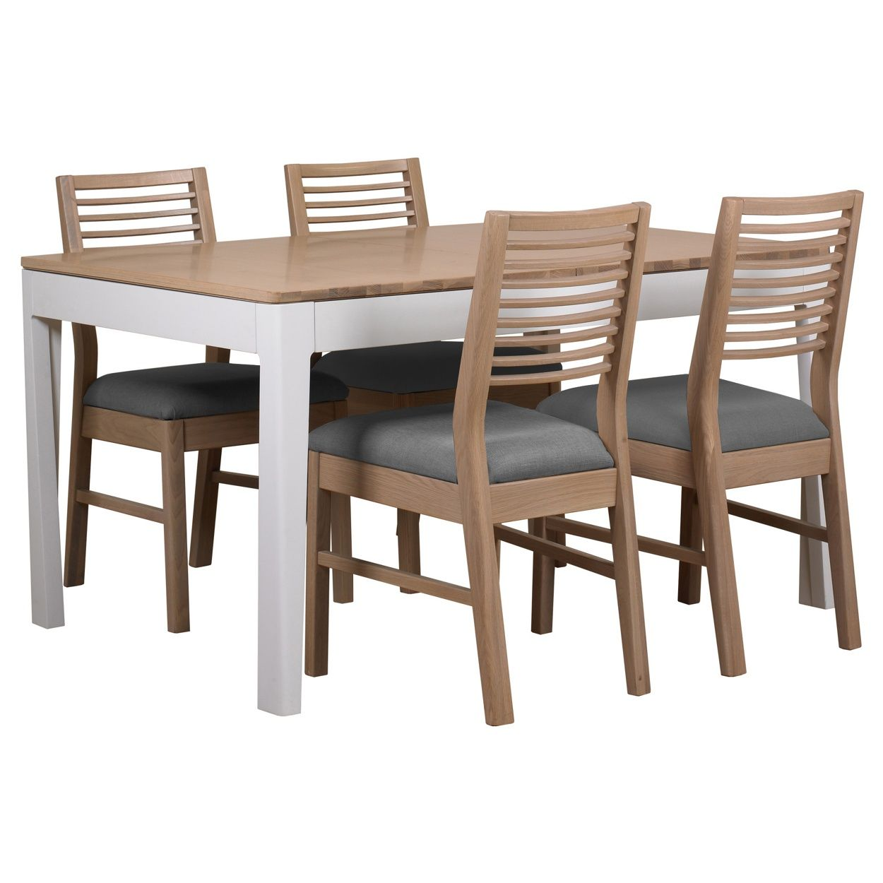 Debenhams Oak And Painted Nord Extending Dining Table Set Of 4 Chairs With