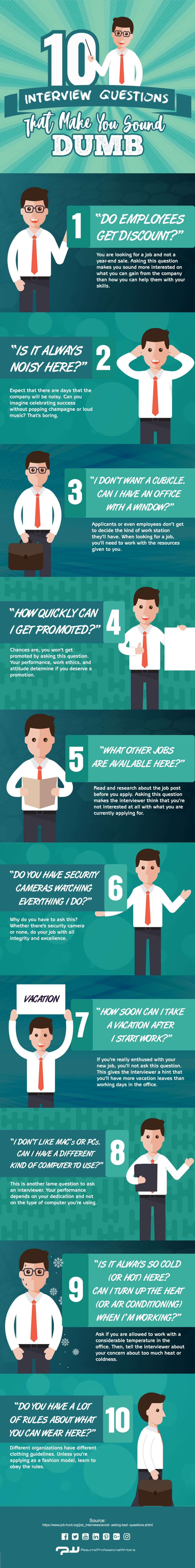10 Interview Questions That Make You Sound Dumb #Infographic