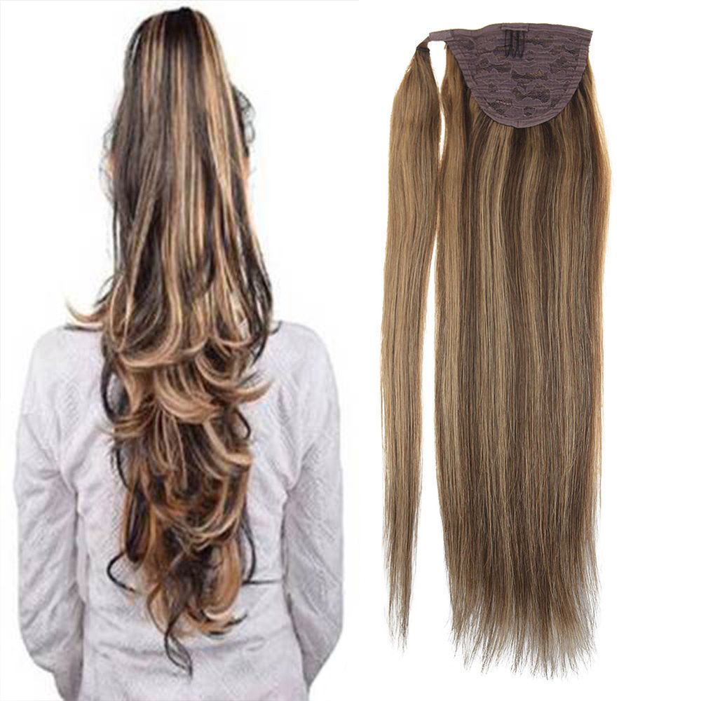 Sunny Clip Wrap Ponytail Human Hair Extension 80g Dark Brown With