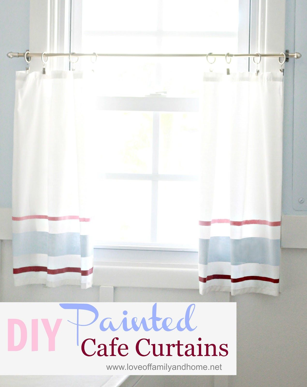 Diy painted cafe curtain tutorial sewing pinterest curtain