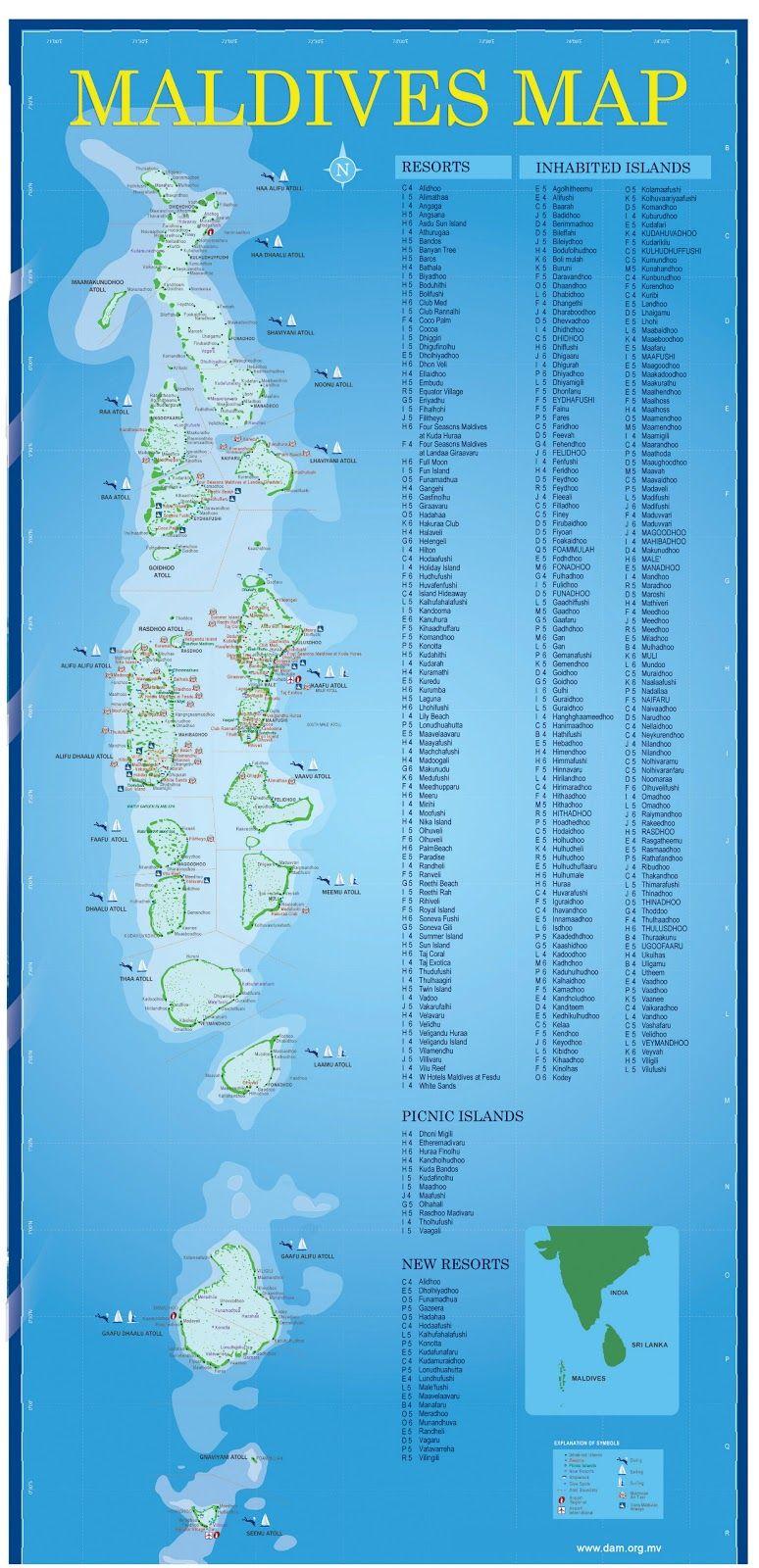 Maldiverne Geographical Kort Over Maldiverne Rejser Rejse