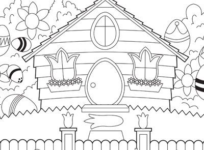 Can You Find The Easter Eggs In This Picture Print The Page Then Use Crayons And Markers To Give T Easter Coloring Pages House Colouring Pages Coloring Pages