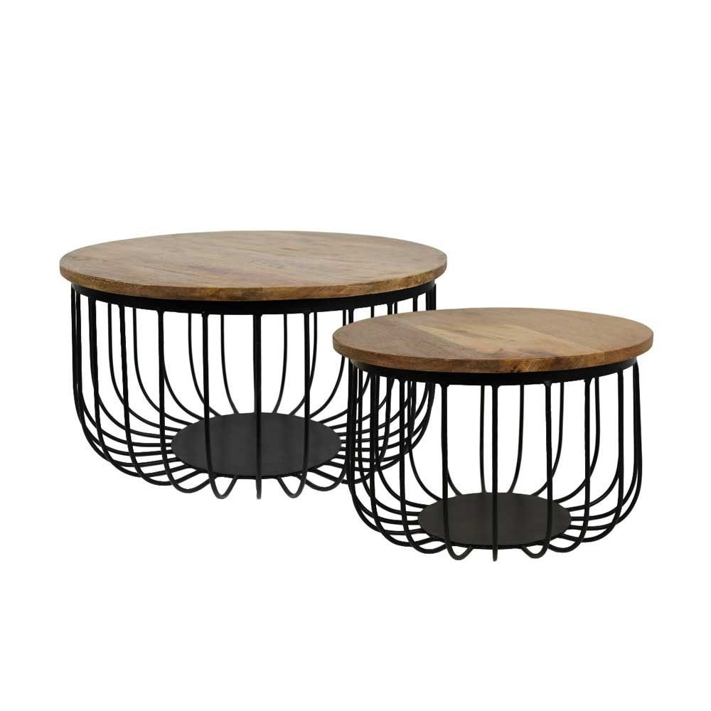 Couchtisch Adele 2 Piece Set Made From Solid Mango Tree Wood Sofa Table Round Iron