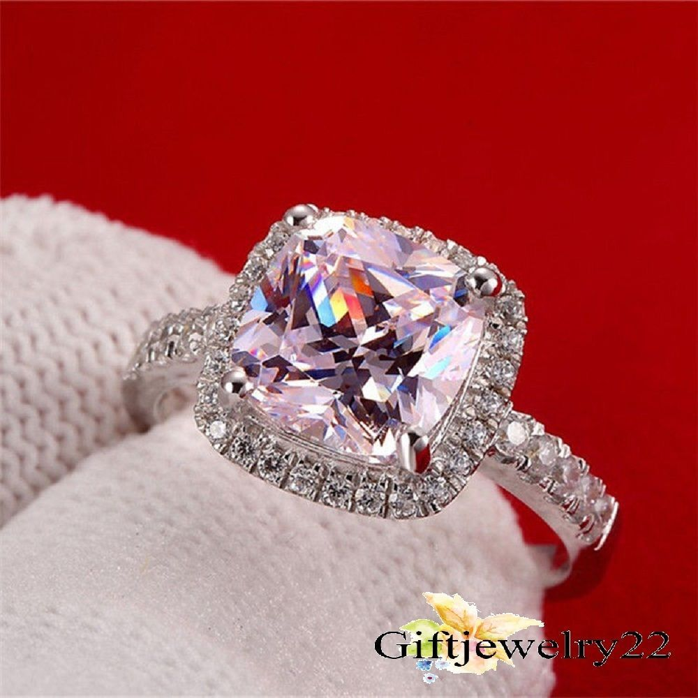 Halo Diamond Engagement Ring 2.10 Ct Simulated Cushion Diamond Unique Engagement Ring Solid 925 Sterling Silver Engagement Ring for Women