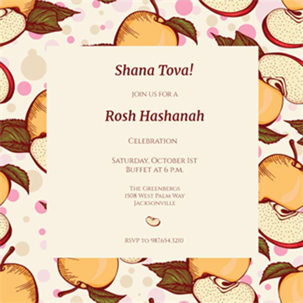 Party. Printable Rosh Hashanah Celebration Invitation Template Apple ...