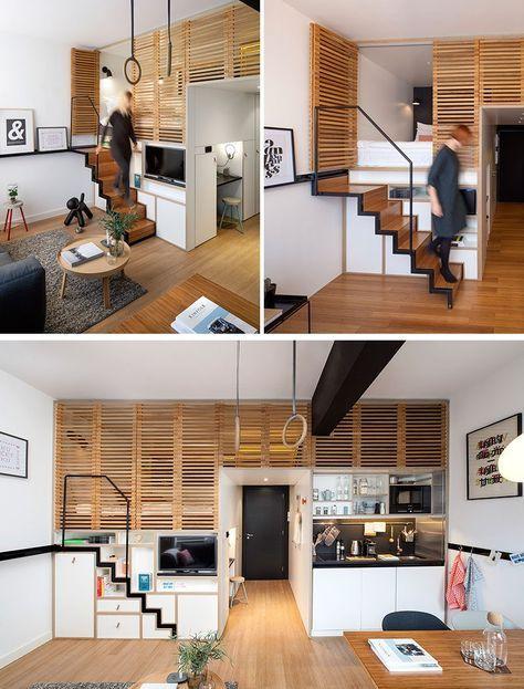 13 treppe design ideen fr kleine rume dieses treppenhaus zieht wenn es gebraucht ist aber wieder in der wand steckt wenn es nicht - Home Interior Designideen Fr Kleine Rume