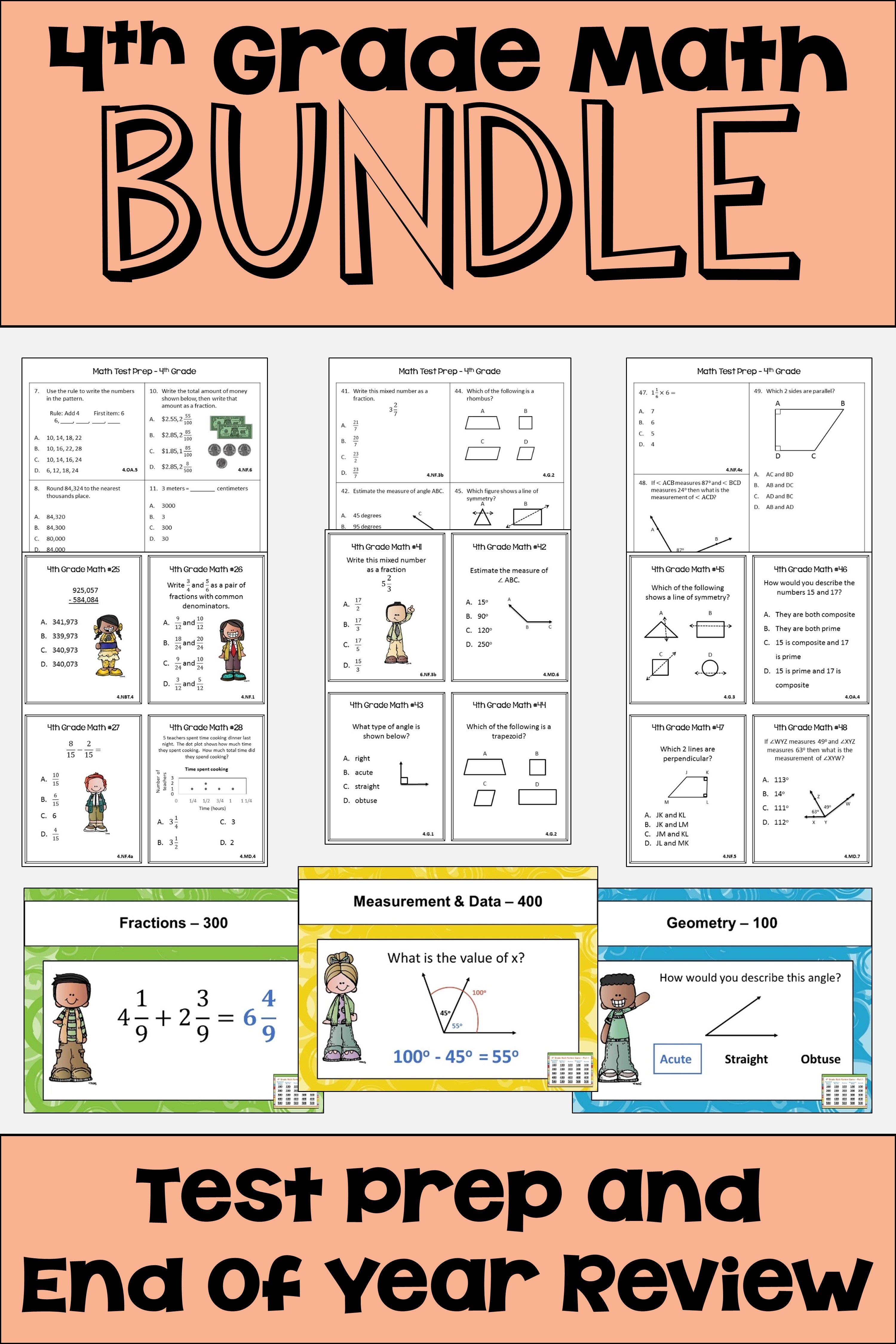 End of Year Math Review - 4th Grade Math BUNDLE | Pinterest | Math ...