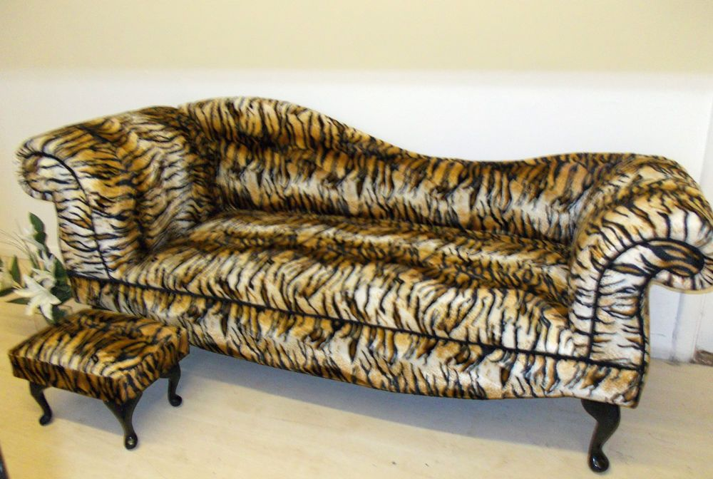 Tiger Animal Print Chaise Longue 6ft Double Ended Sofa Animal
