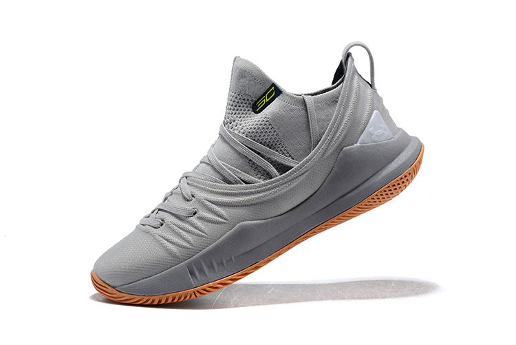 de5d8dbc2a8 Under Armour UA Curry 5 In Grey And Gum Shoes Free Shipping