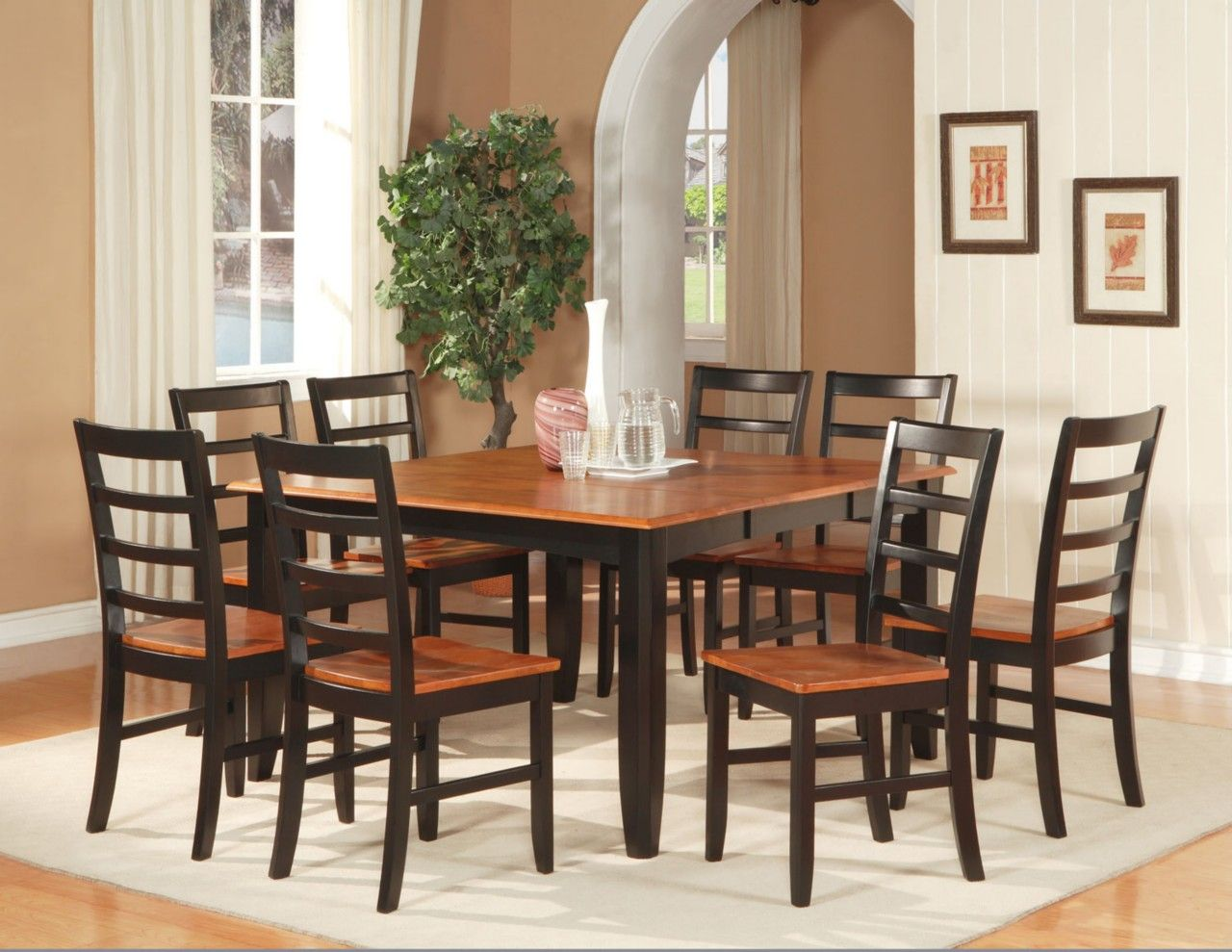 7 pc square dinette dining room set table with 6 wood seat chairs black cherry