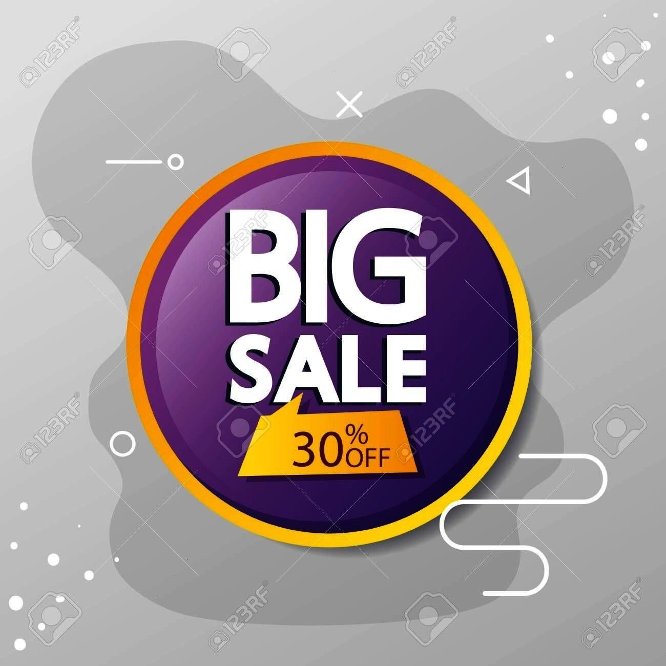 discount vector with big sale offer lettering and thirty percent discount vector illustration design Illustration commercial label with big sale offer lettering and thirt...