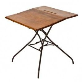 Early 20th Vintage Industrial Automatic Folding Table With Black Enameled Cast Iron Base Folding Table Vintage Industrial Maple Wood Table