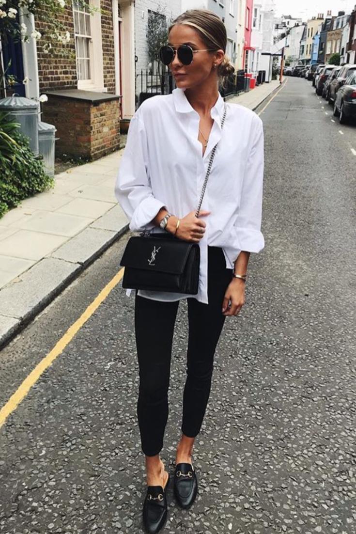 mode femme printemps tenue classe pantalon slim noir chemise blanche mules gucci et sac ysl