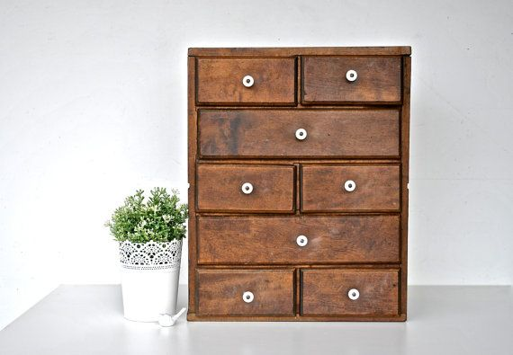 Antique Wooden Cabinet with Drawers