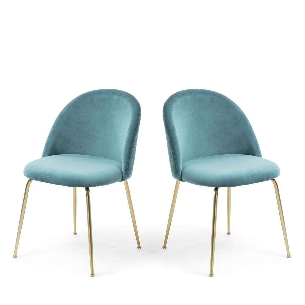 Ivonne 2 Chaises En Velours Et Pieds Dores En 2020 Chaise Design Chaise Tendance Chaise Art Deco