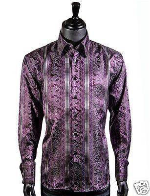 Manzini Men Purple Black Paisley Collar Button Down Fashion Party ...