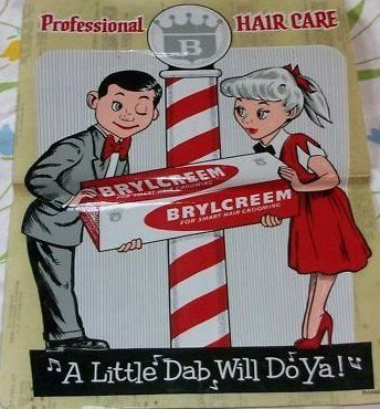 Brylcreem! Almost every guy in the 50's would put Brylcreem in their hair to make them look greasy (in my opinion) :-)