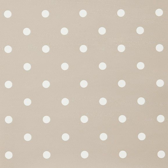 Small Dot Taupe and White Polka Dot Vinyl Wipe Clean PVC Tablecloth