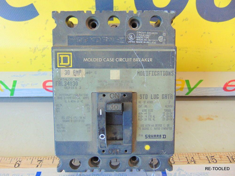Square D FAL34030 Circuit Breaker 30 Amp 3 Pole 480 VAC | COMMERCIAL ...