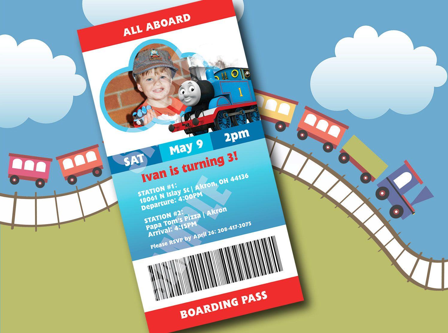 Thomas the Train Birthday Invite - Boarding Pass Ticket Invitation ...