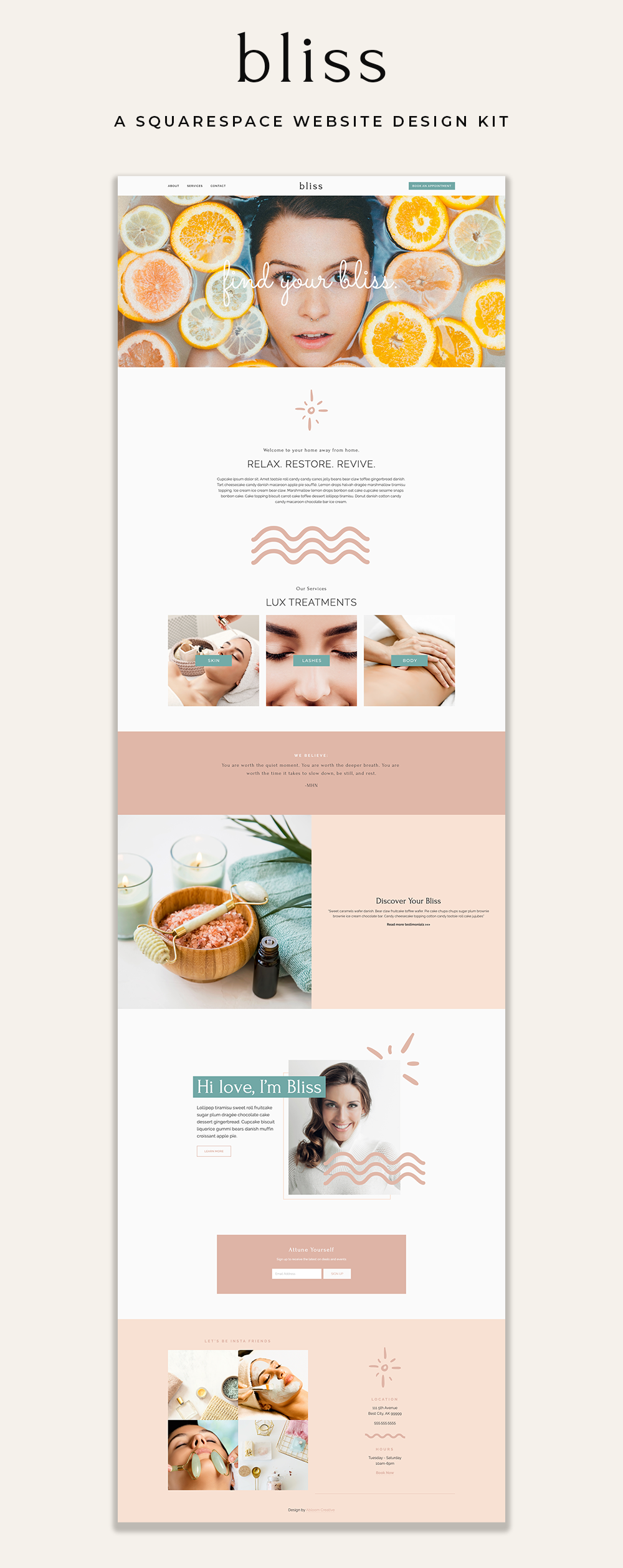 Bliss Squarespace Template | Abloom Creative