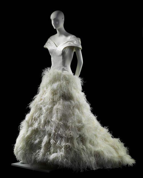 Satin and Ostrich Feather Wedding Dress, 1989Arnold Scaasivia...