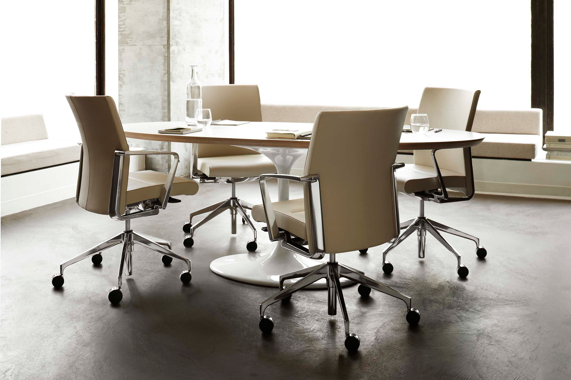 Executive Chrome leather conference chairs Modern Conference