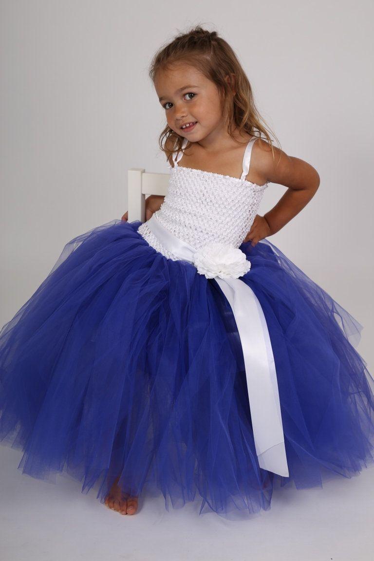 bee20dc3fac3aa Robe tutu, robe de ceremonie, robe tulle enfant, bleu roi et blanche ...