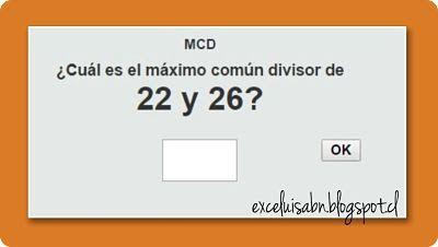 ExceLuisABN Matemática y Excel: Calcula el Máximo Común Divisor, con ThatQuiz.