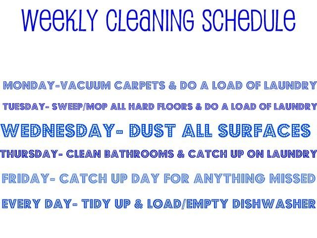 Cleaning schedule I made today--let's see if I follow it!