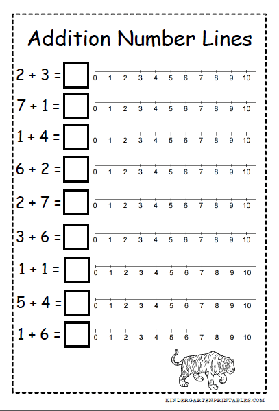 photo about Free Printable Math Addition Worksheets for Kindergarten called quantity line addition worksheets  Tutoring - Figures Kinde