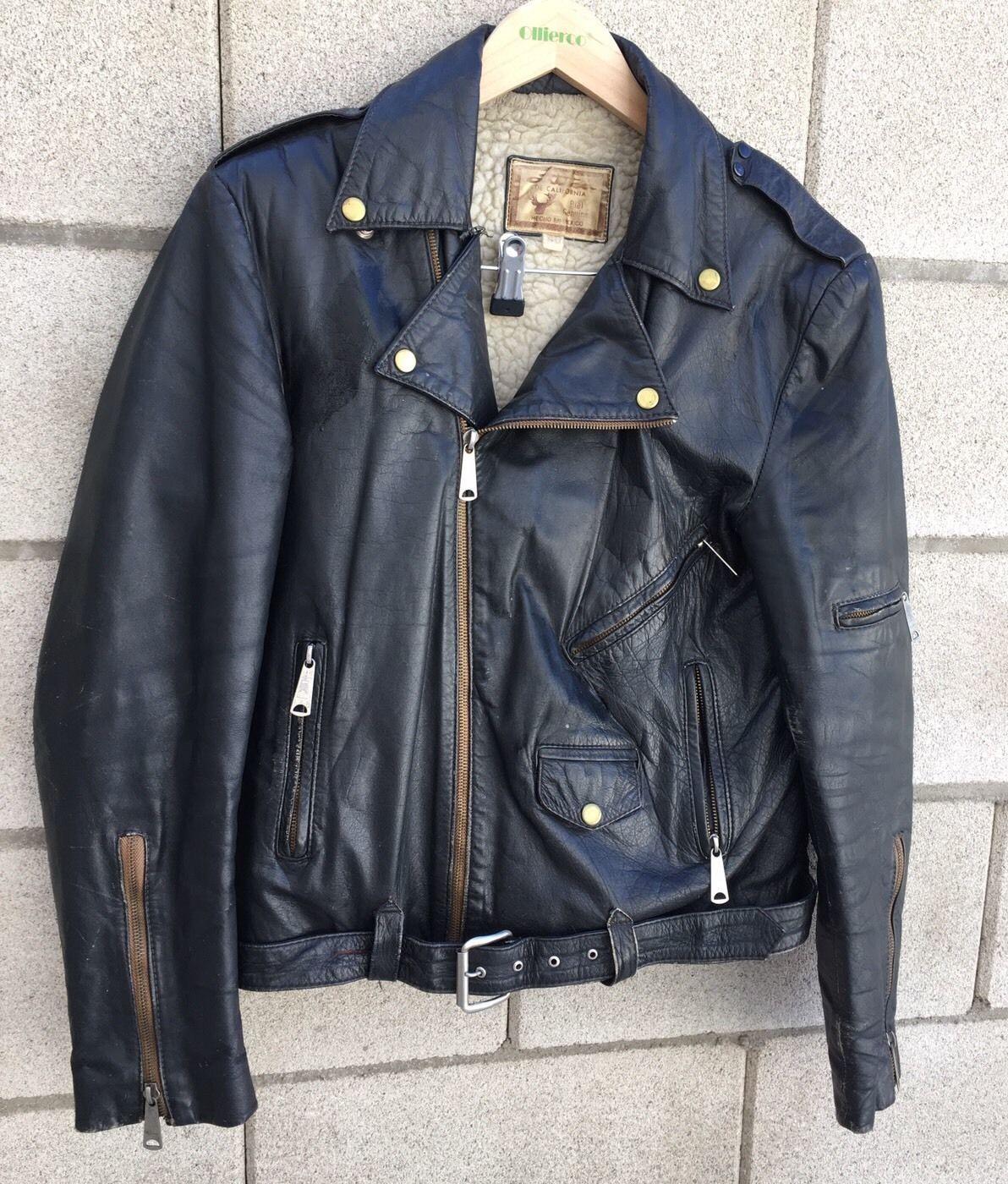 Vintage black leather biker distressed motorcycle fleece lined