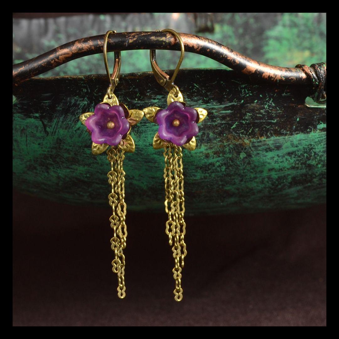 Floral Tassel Earrings in Antiqued Brass and Warm Purple