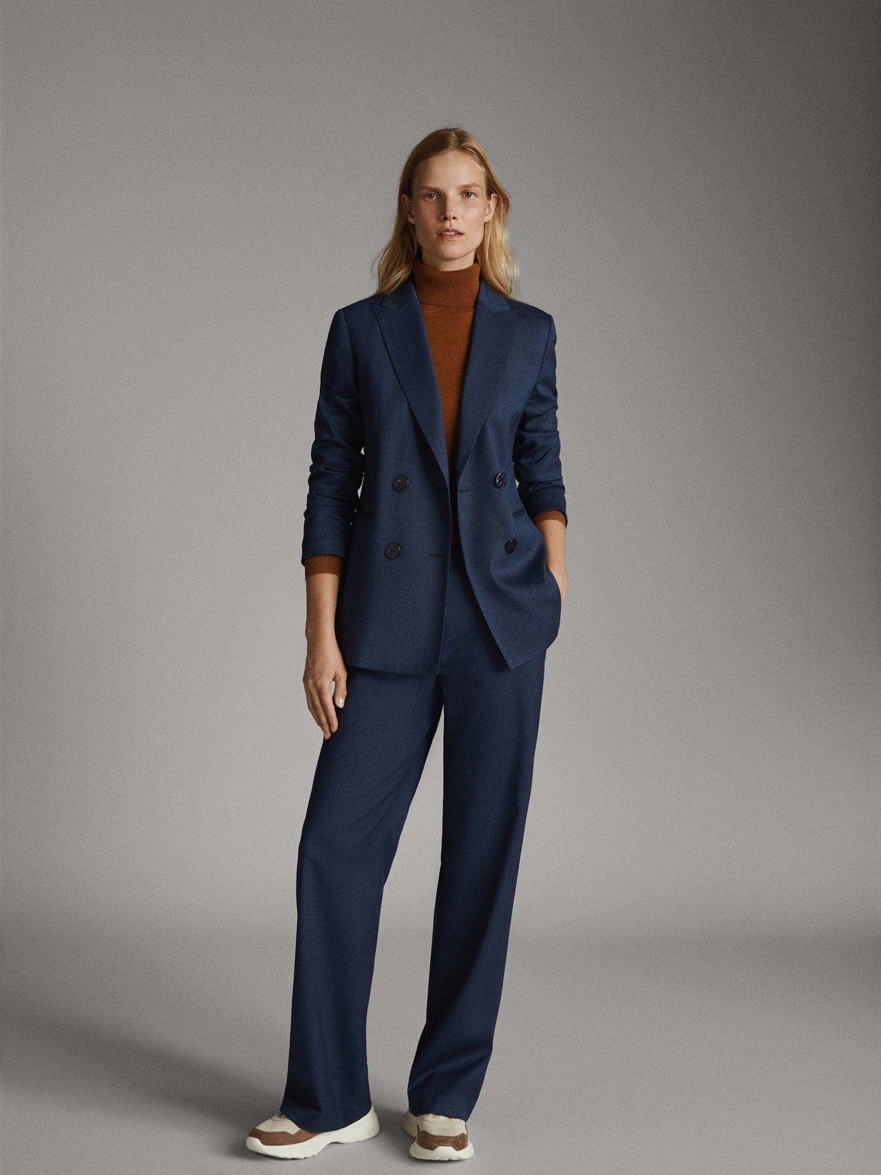 Massimo Dutti Mujer Americana Denim Lana Marino Azul Marino 38 Pantalon Azul Marino Mujer Moda Traje Sastre