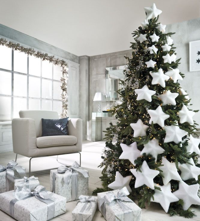 decoracin de navidad en blanco Navidad Pinterest rbol