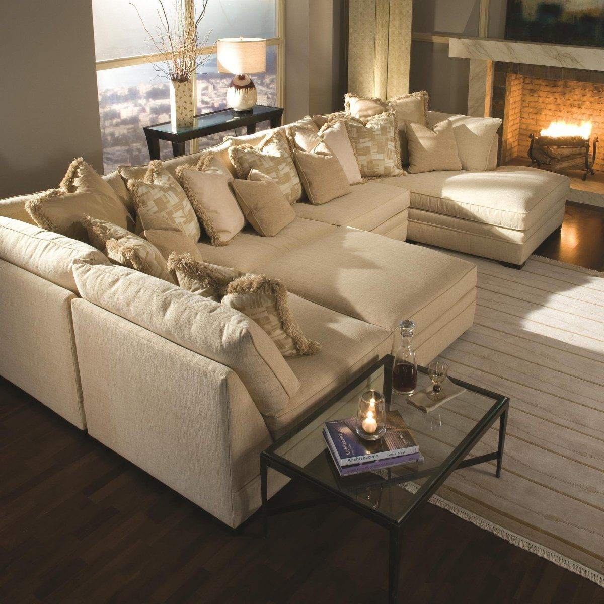 Light Brown Sectional Fabric Sofa With Two Chaise Lounge and Piles of  Pillows - Furniture.