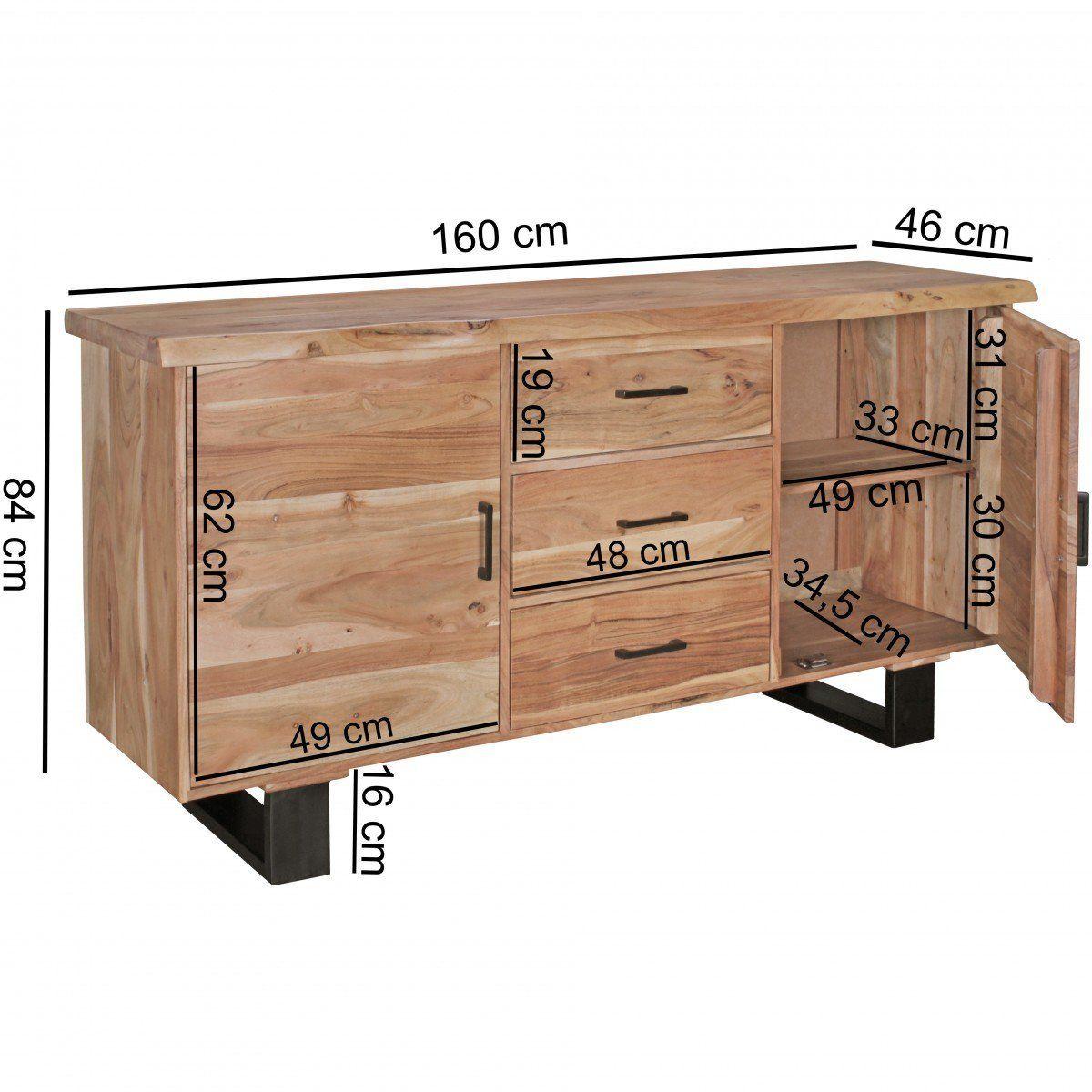 Finebuy Sideboard 160 X 84 X 46 Cm Massiv Holz Akazie Baumkante