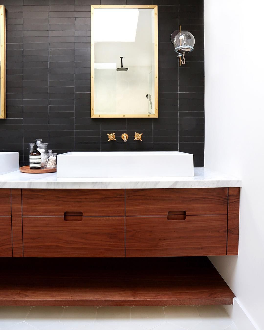 This is the kind of bathroom that makes you want to brush your teeth matte black subway tile wooden vanity with marble dailygadgetfo Choice Image