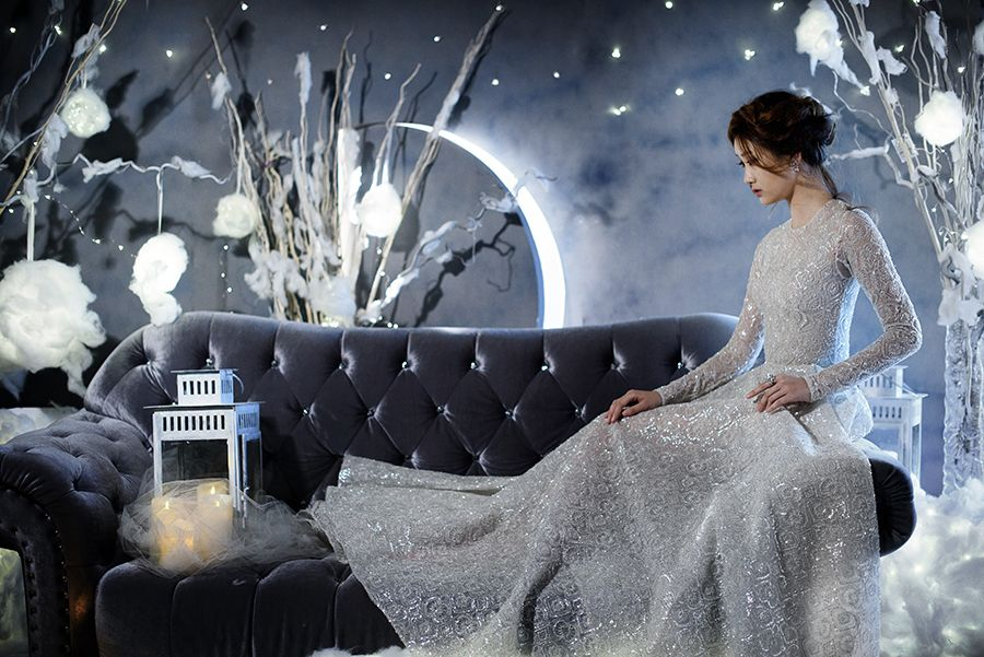 Snow Maiden bride in Paolo Sebastian wedding gown for winter themed bridal styled shoot // Winter's Night Wedding Inspiration with 3 Paolo Sebastian Gowns {Facebook and Instagram: The Wedding Scoop}