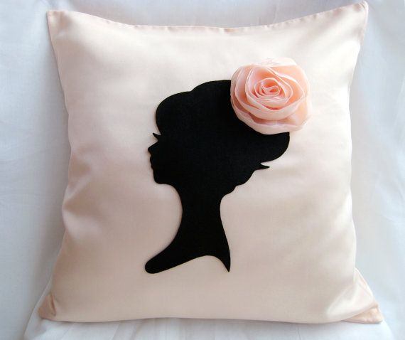 Elegant Cameo Light Peach And Black Pillow by RaineStyleHome